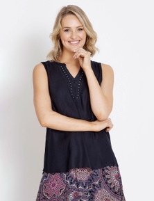 Rockmans Sleeveless Embroidered Top