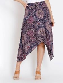 Rockmans Marrakesh Print Asymmetric Skirt