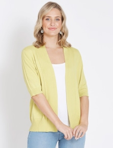 Rockmans Elbow Sleeve Pointelle Detail Cardi
