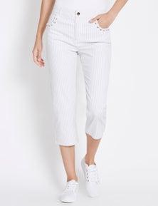 Rockmans Crop Length Soft Stripe Jean