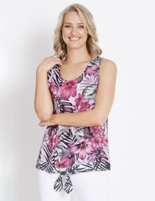 Rockmans Sleeveless Hem Tie Floral Top