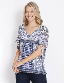 Rockmans Short Sleeve Decorative Print Top
