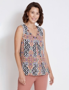 Rockmans Sleeveless Ikat Print Top