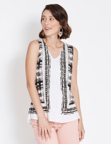 Rockmans Sleeveless Tile Print Top