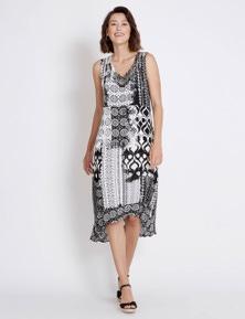 Rockmans Sleeveless Aztec Print Dress