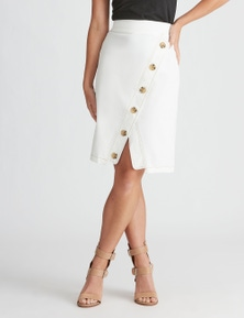 Rockmans Button Front Knee Length Skirt