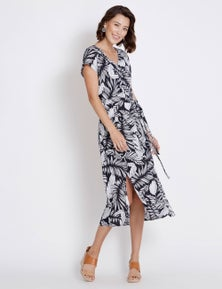 Rockmans Extended Sleeve Lurex Floral Dress