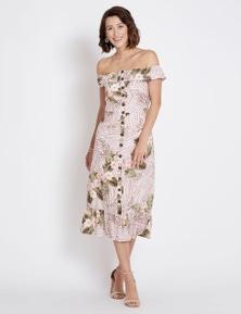 Rockmans Sleeveless Printed Linen Midi Dress