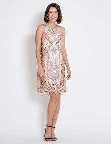 Rockmans Sleeveless Knee Length Jewel Print Dress