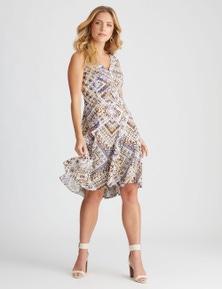 Rockmans Sleeveless Pintuck Printed Dress