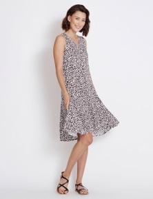 Rockmans Sleeveless Button Front Leopard Dress
