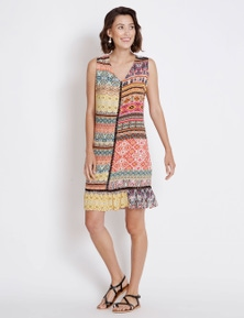Rockmans Sleeveless Lurex Print Shift Dress