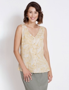 Rockmans Sleeveless Linen Printed Top