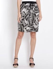 Rockmans Printed Linen Skirt