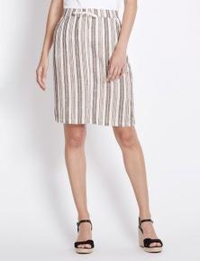 Rockmans Stripe Linen Skirt