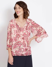 Table Eight 3/4 Sleeve Lurex Palm Print Blouse