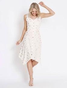 Table Eight Sleeveless Linen Foil Spot Dress