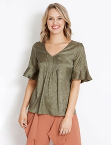 Table Eight Short Sleeve Ring Detail Blouse