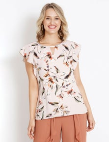 Table Eight Floral Cap Sleeve Top