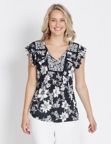 Table Eight Flutter Sleeve Mixed Floral Blouse