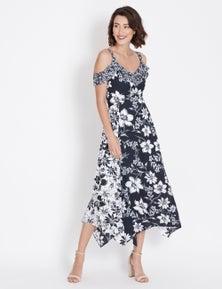 Table Eight Sleeveless Mixed Floral Maxi Dress