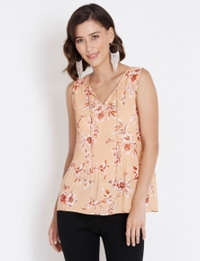 Table Eight Sleeveless Floral Pleated Top
