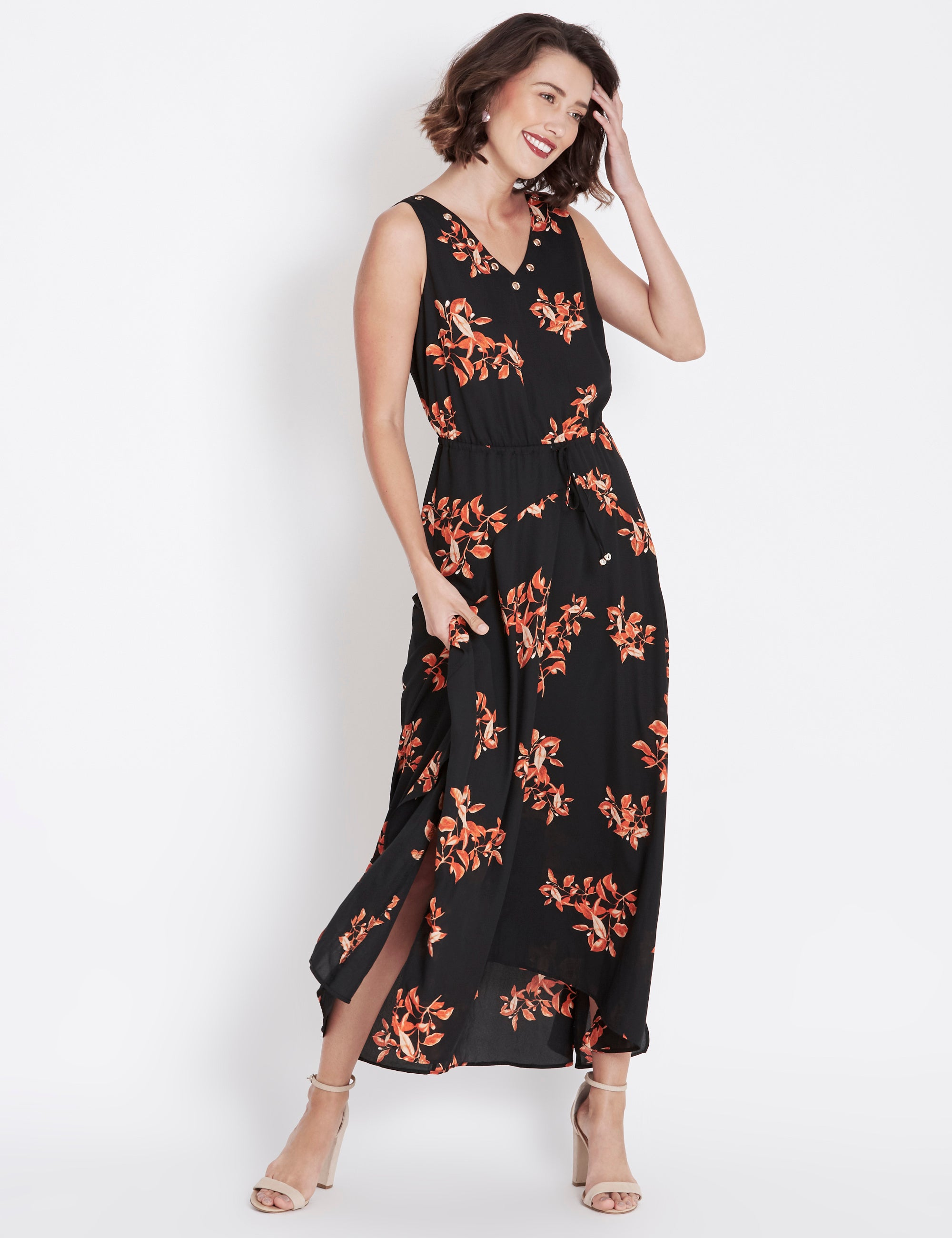 Abstract V Neck Plus Size Beach Casual Maxi Dresses