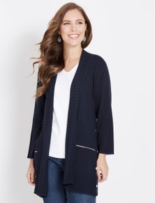 3/4 SLEEVE BUTTON SIDE DETAIL CARDIGAN