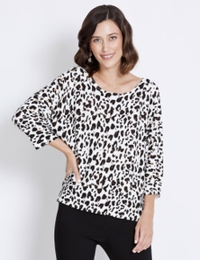 Rockmans 3/4 Sleeve Eyelet Knit Batwing Jumper