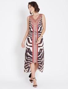 Rockmans Jewelled High Low Maxi Dress