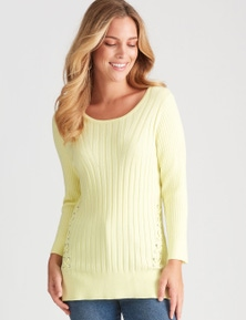 ROCKMANS 3/4 SLEEVE LATTICE EYELET JUMPER