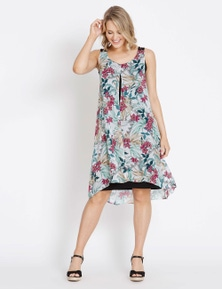 Rockmans Sleeveless Woven Layer Dress
