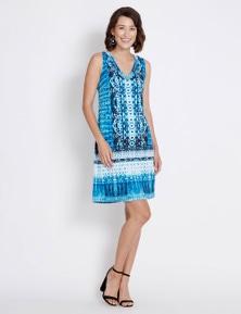 Rockmans Sleeveless Tie Dye Neck Trim Dress