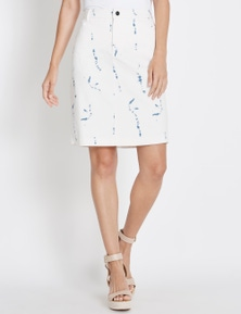 Rockmans Printed Denim Skirt