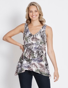 Rockmans Sleeveless Sequin Print Top