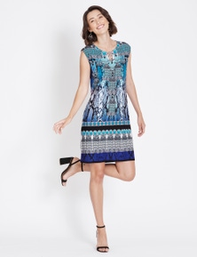 Rockmans Sleeveless Jewel Print Shift Dress