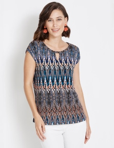 Rockmans Extended Sleeve Beaded Trim Print Top
