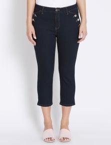 Rockmans Crop Length Button Pocket Jean
