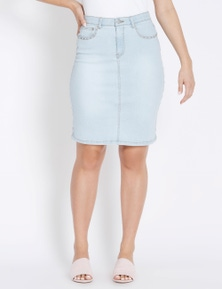 Rockmans Knee Length Studded Denim Skirt
