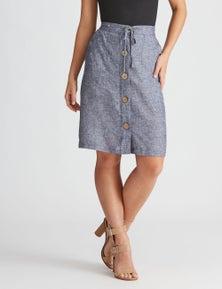 Rockmans Knee Length Button Front Linen Skirt