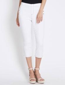 Rockmans Crop Button Pocket Pull On Jean