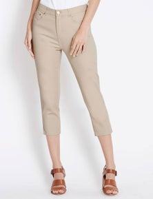 Rockmans Crop Length Slim Leg Contrast Stitch Jean