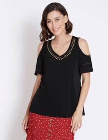 Rockmans Short Sleeve Disc Trim Detail Top