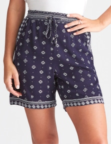 Rockmans Mid Thigh Motif Print Short