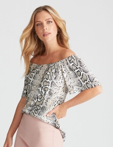 Rockmans Off The Shoulder Frill Sleeve Print Top