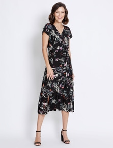 Rockmans Sleeveless Button Print Midi Dress