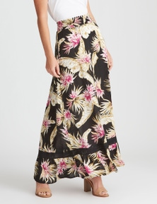Rockmans Maxi Black Tropical Printed Skirt