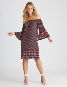 Rockmans Elbow Sleeve Boho Print Dress