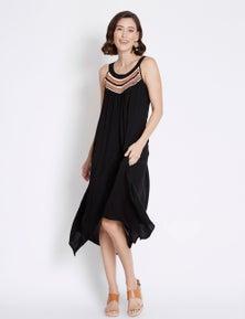 Rockmans Sleeveless Crochet Detail Midi Dress