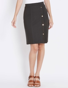 Rockmans Knee Length Textured Stud Ponte Skirt